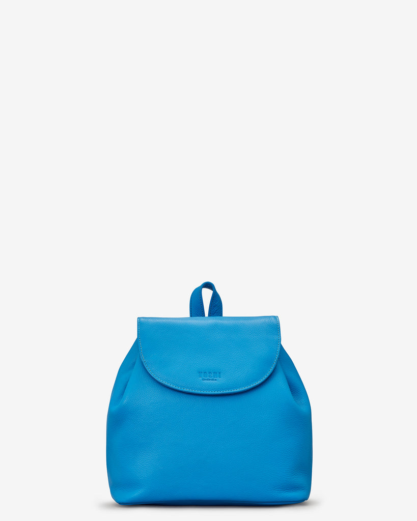 Davis Cobalt Blue Leather Backpack Bag - Yoshi