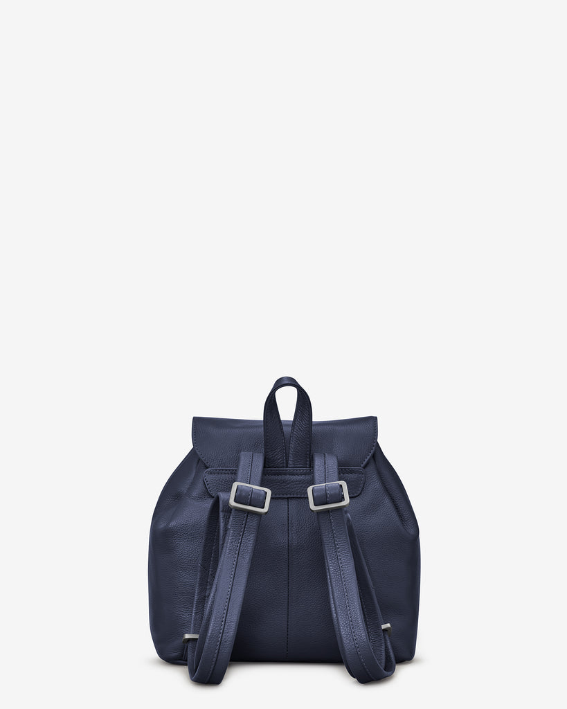 Davis Navy Leather Backpack Bag - Yoshi