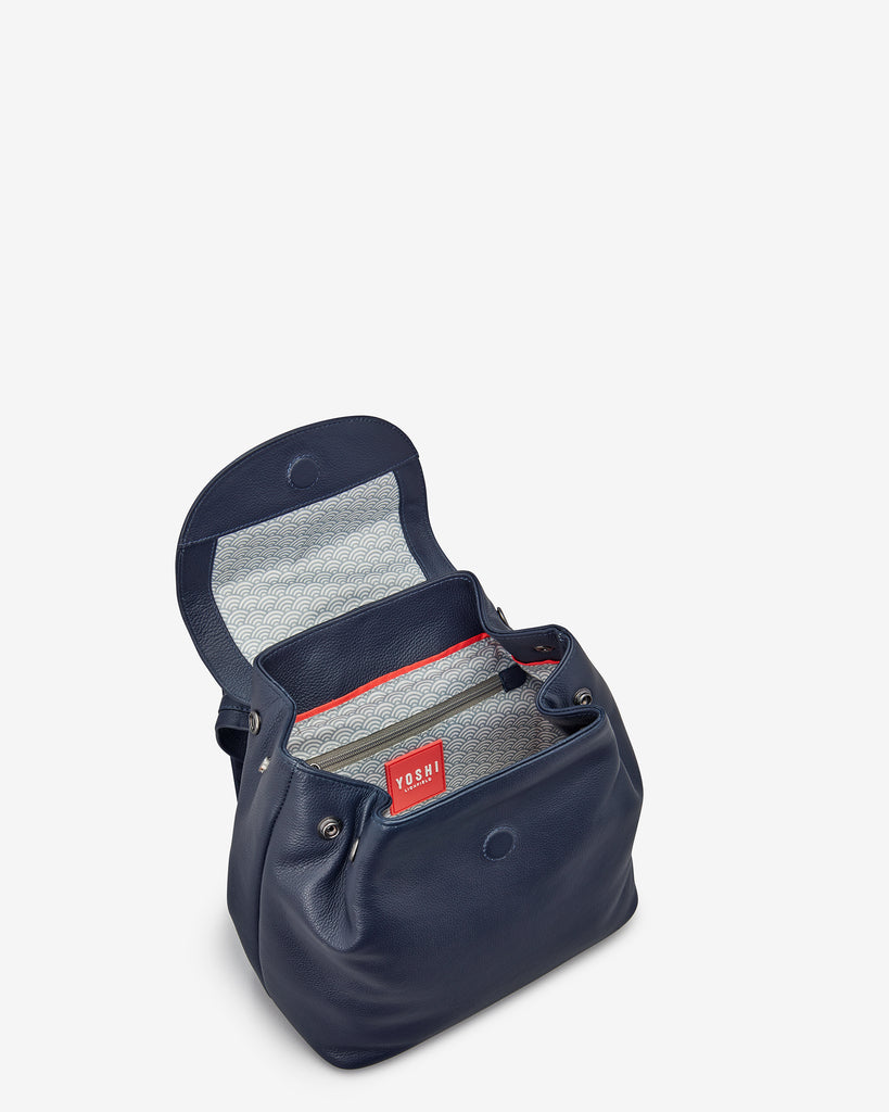 Davis Navy Leather Backpack - Yoshi