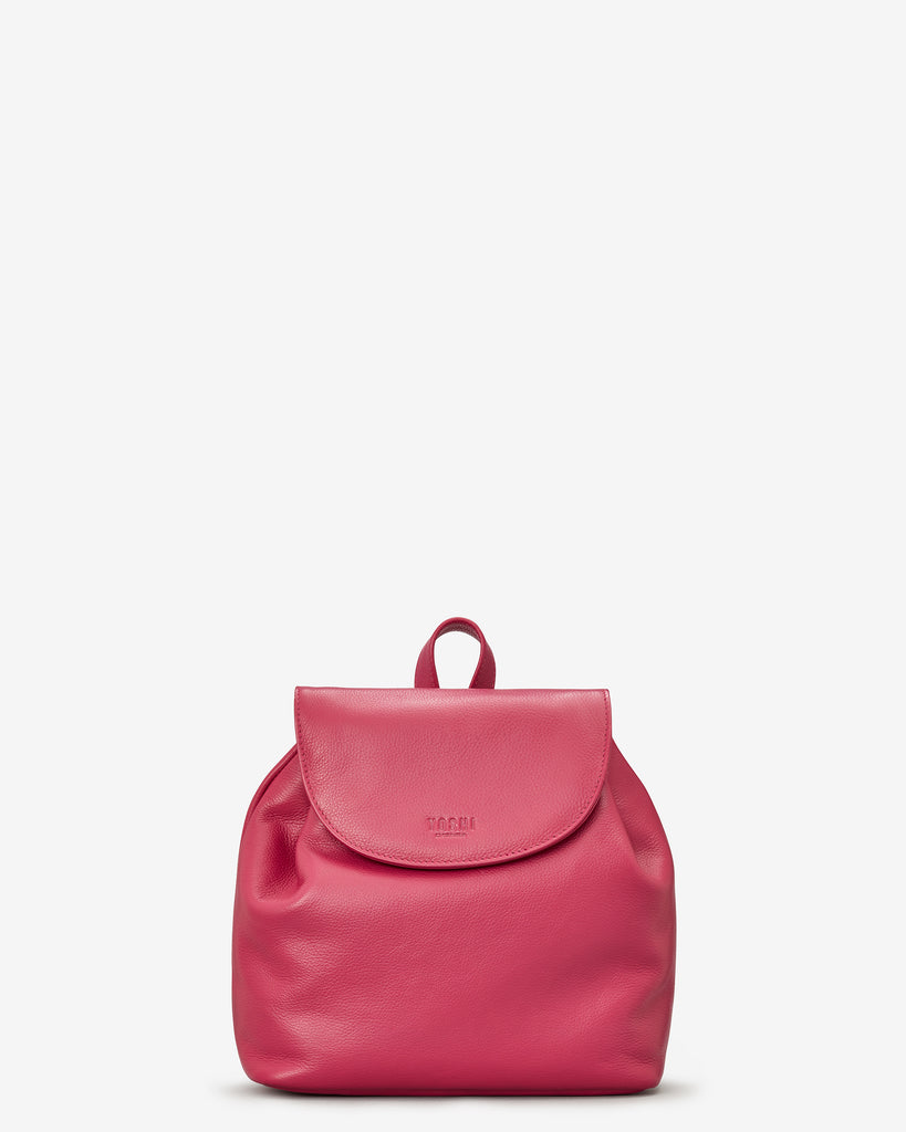 Davis Raspberry Leather Backpack Bag - Yoshi