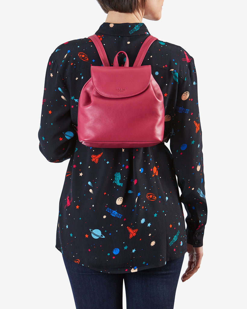 Davis Raspberry Leather Backpack - Yoshi