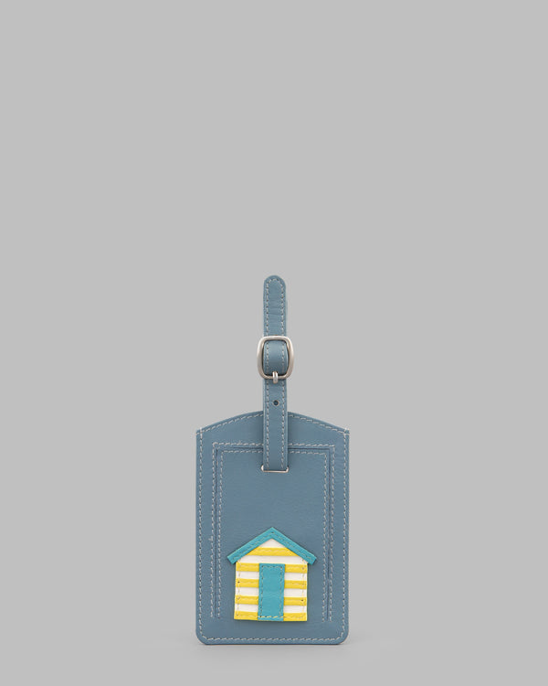 Day at the Seaside Beach Huts Blue Leather Luggage Tag A