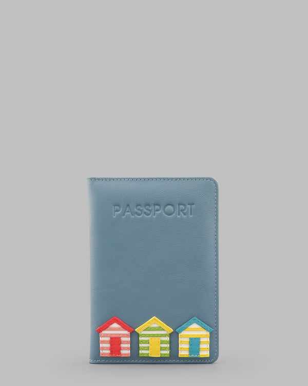 Day at the Seaside Beach Huts Blue Leather Passport Cover A