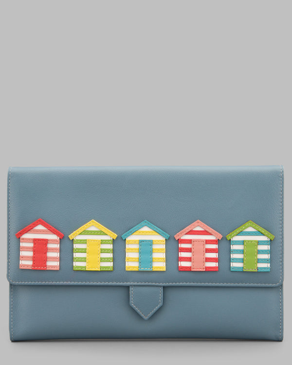 Day at the Seaside Beach Huts Blue Leather Travel Document Holder A
