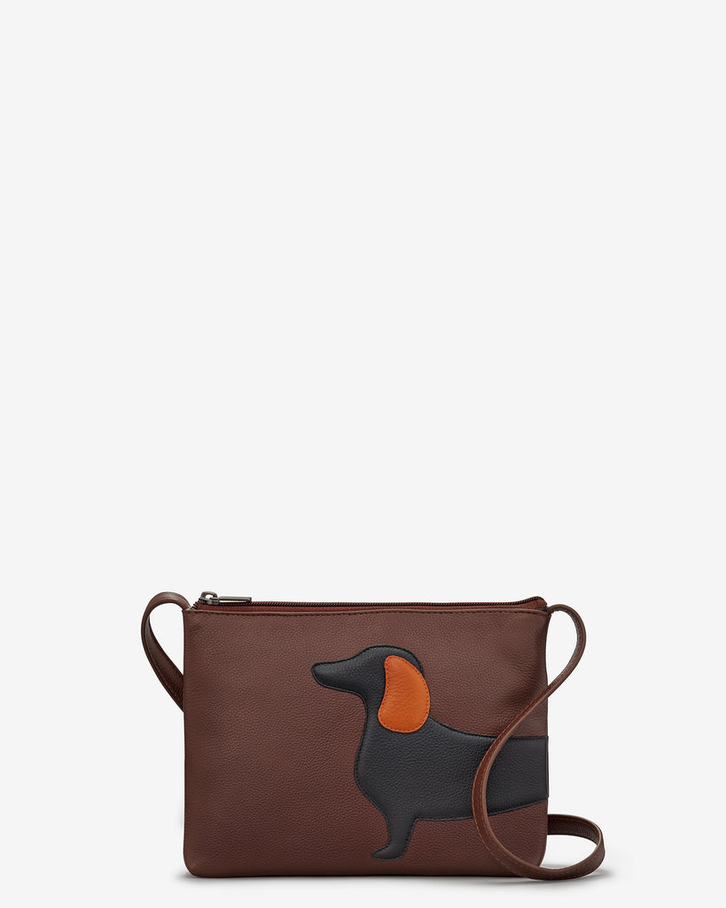 Delilah The Dachshund Brown Leather Cross Body Bag - Yoshi