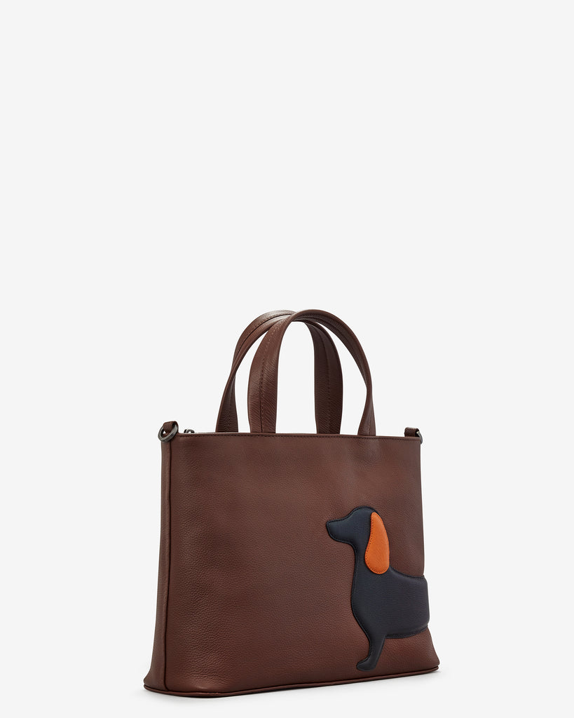 Delilah The Dachshund Brown Leather Multiway Grab Bag - Yoshi