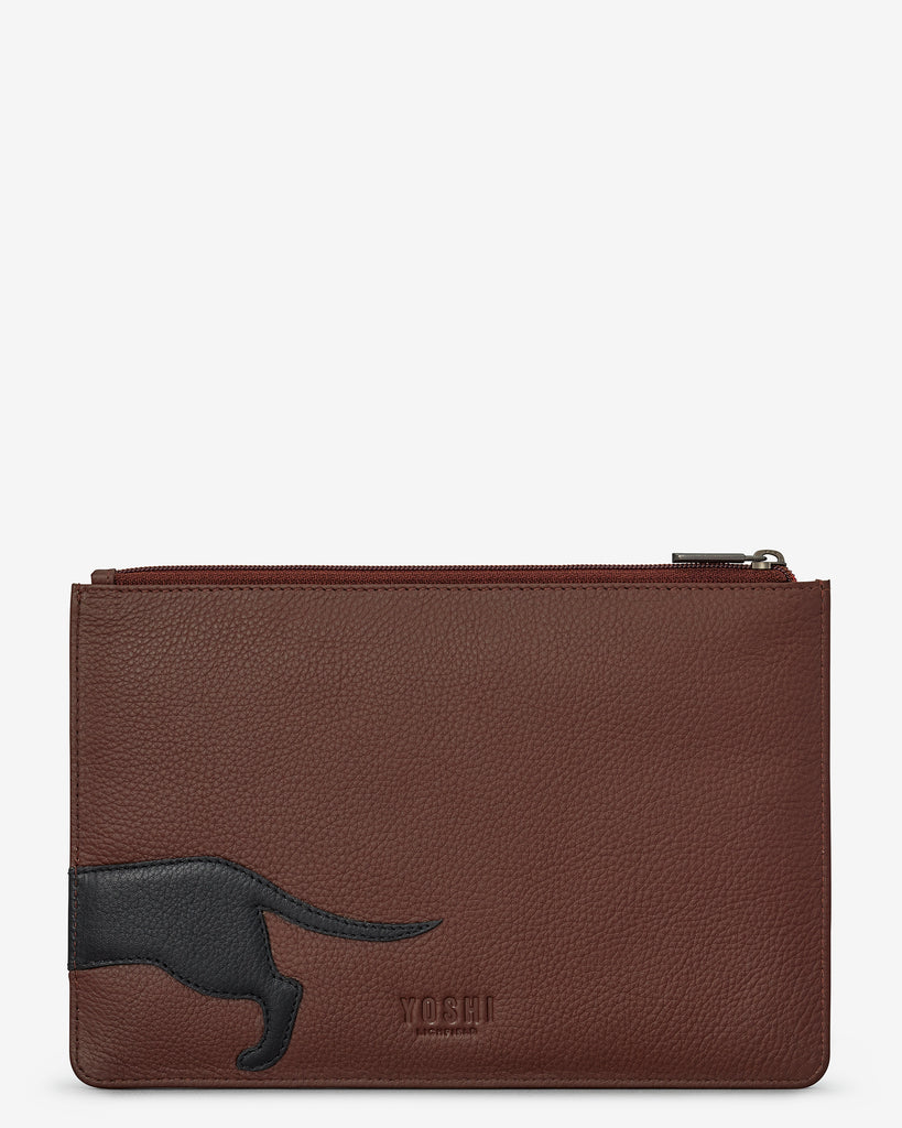 Delilah The Dachshund Brown Leather Brooklyn Pouch - Yoshi