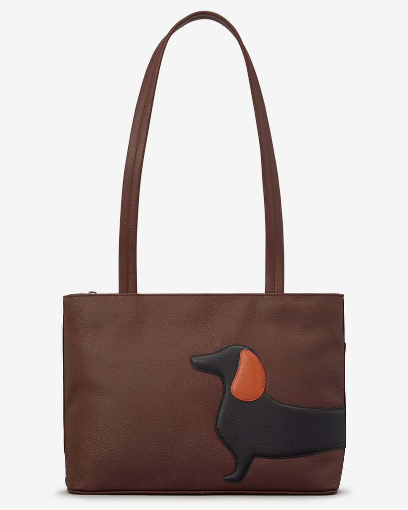 Delilah The Dachshund Brown Leather Shoulder Bag - Yoshi