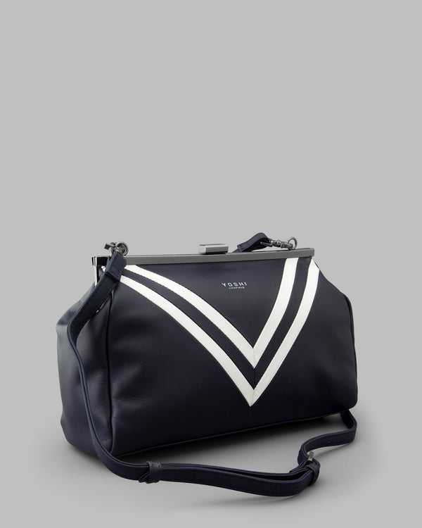 Deuce Navy Leather Frame Bag b