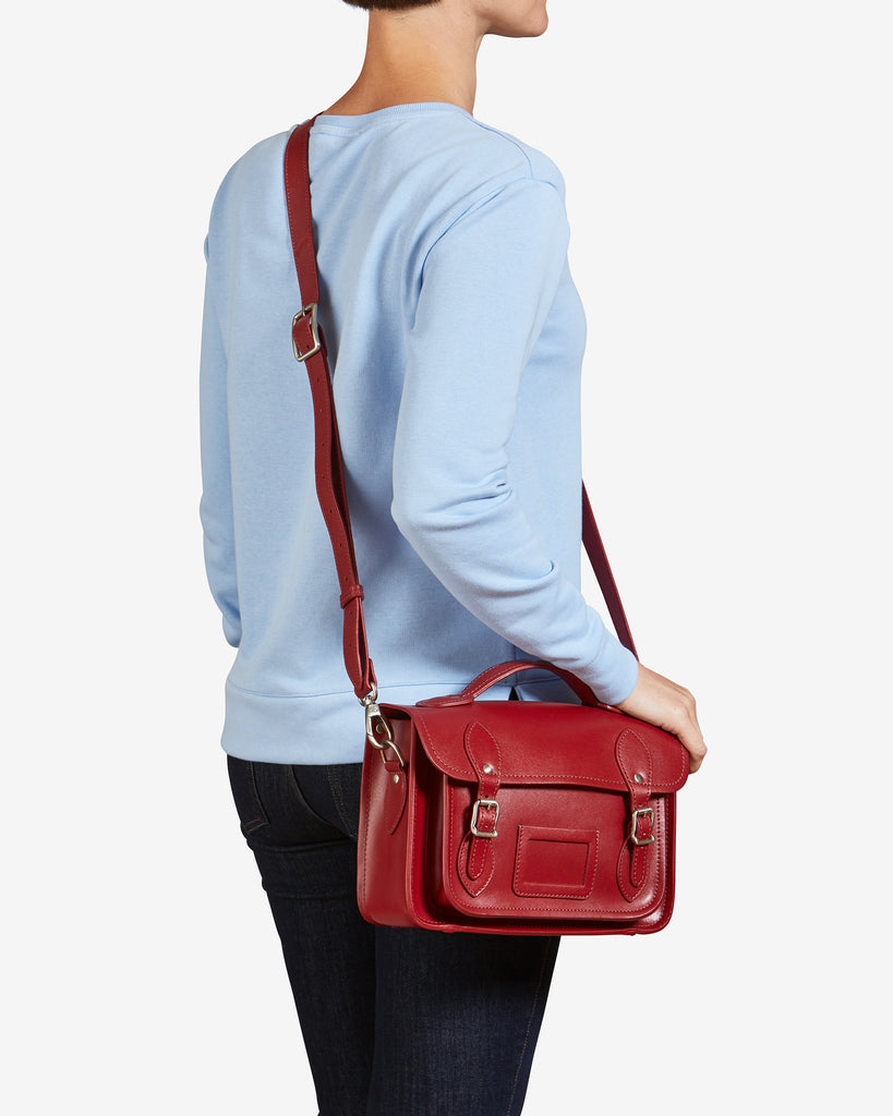 "Dewhurst 10.5"" Red Leather Satchel - Yoshi"