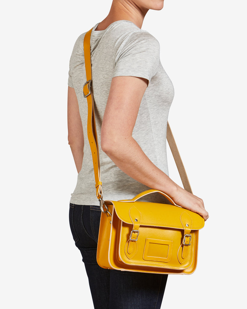 "Dewhurst 10.5"" Mustard Yellow Leather Satchel - Yoshi"