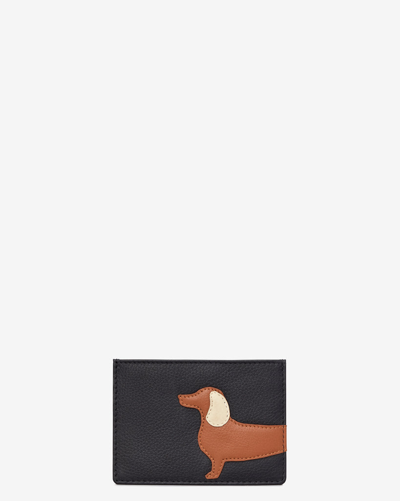 Digby the Dachshund Black Leather Academy Card Holder - Black - Yoshi