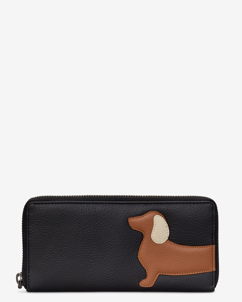 Digby The Dachshund Black Leather Baxter Purse - Black - Yoshi