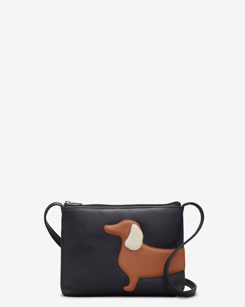Digby the Dachshund Black Leather Cross Body Bag - Black - Yoshi
