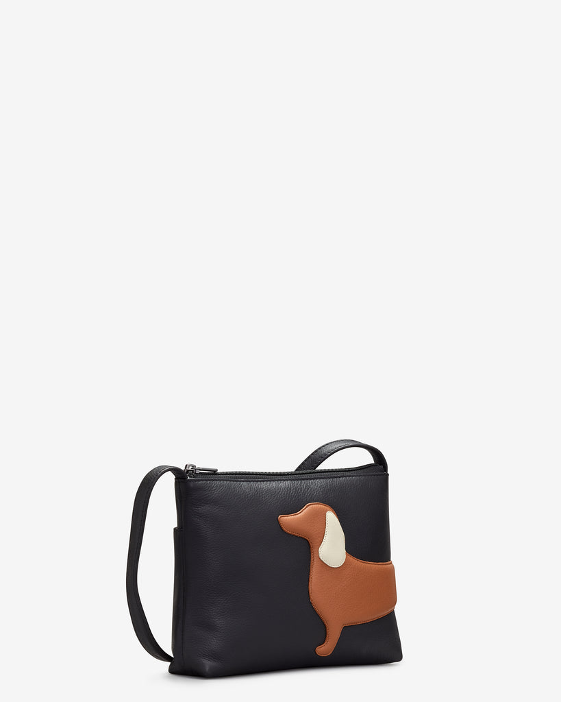 Digby the Dachshund Black Leather Cross Body Bag -  - Yoshi