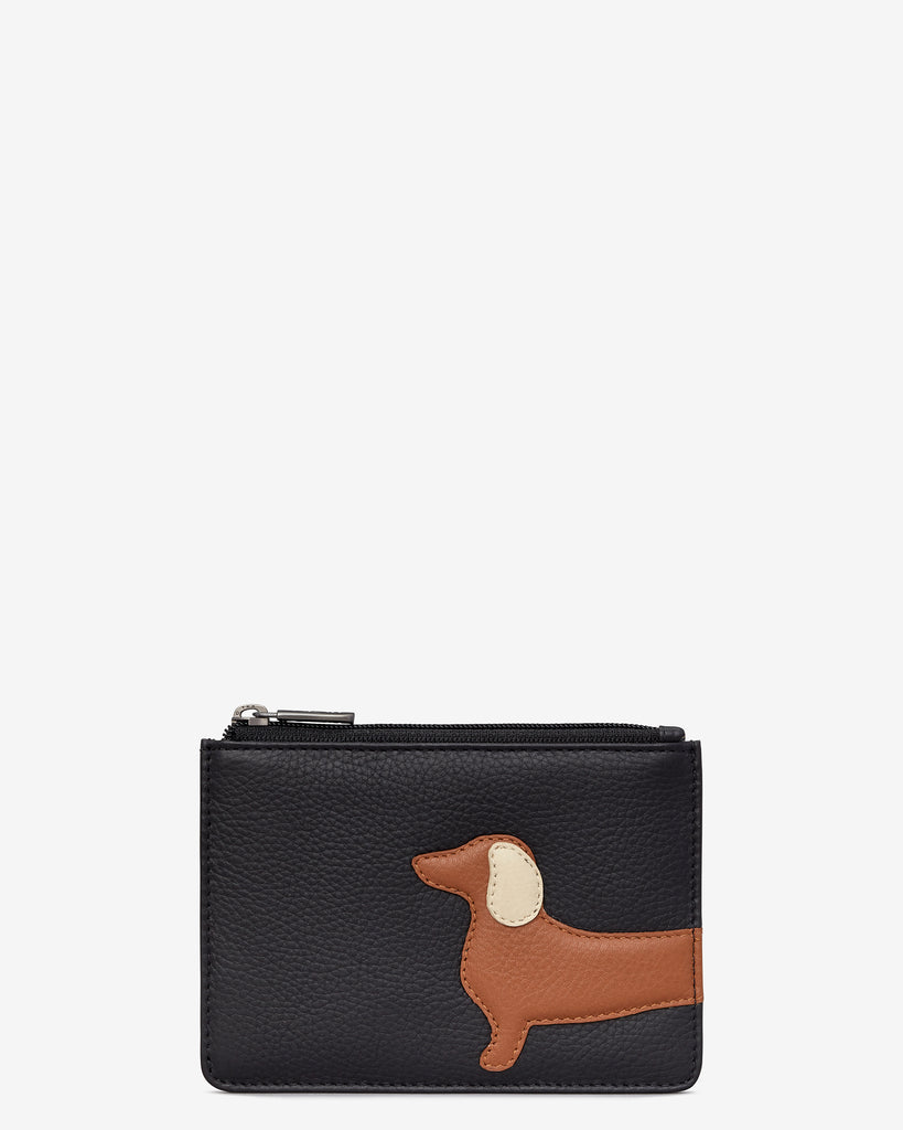 Digby the Dachshund Black Leather Franklin Purse - Black - Yoshi
