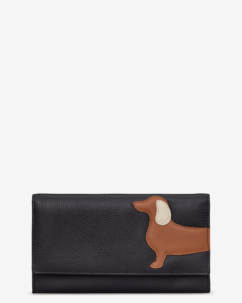 Digby the Dachshund Black Leather Hudson Purse - Black - Yoshi