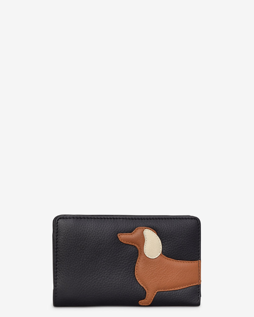 Digby the Dachshund Black Leather Oxford Purse - Black - Yoshi