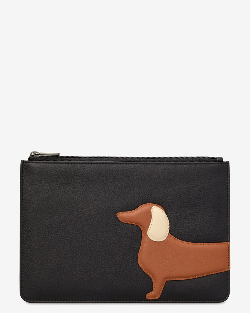 Digby the Dachshund Black Leather Brooklyn Pouch - Black - Yoshi