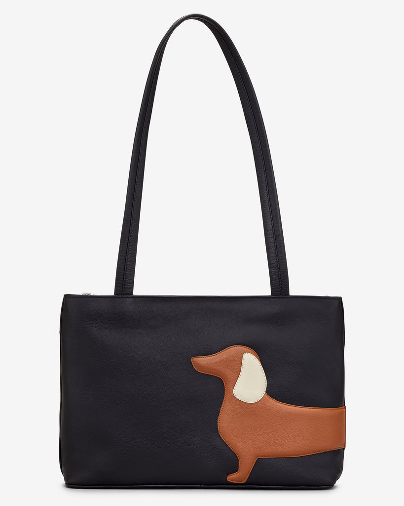 Digby the Dachshund Black Leather Shoulder Bag - Black - Yoshi