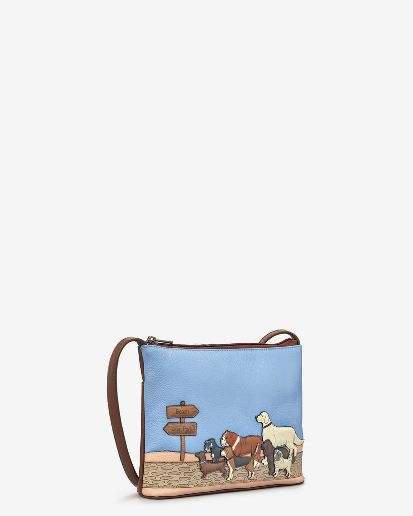 Dog Walk Brown Leather Cross Body Bag - Yoshi