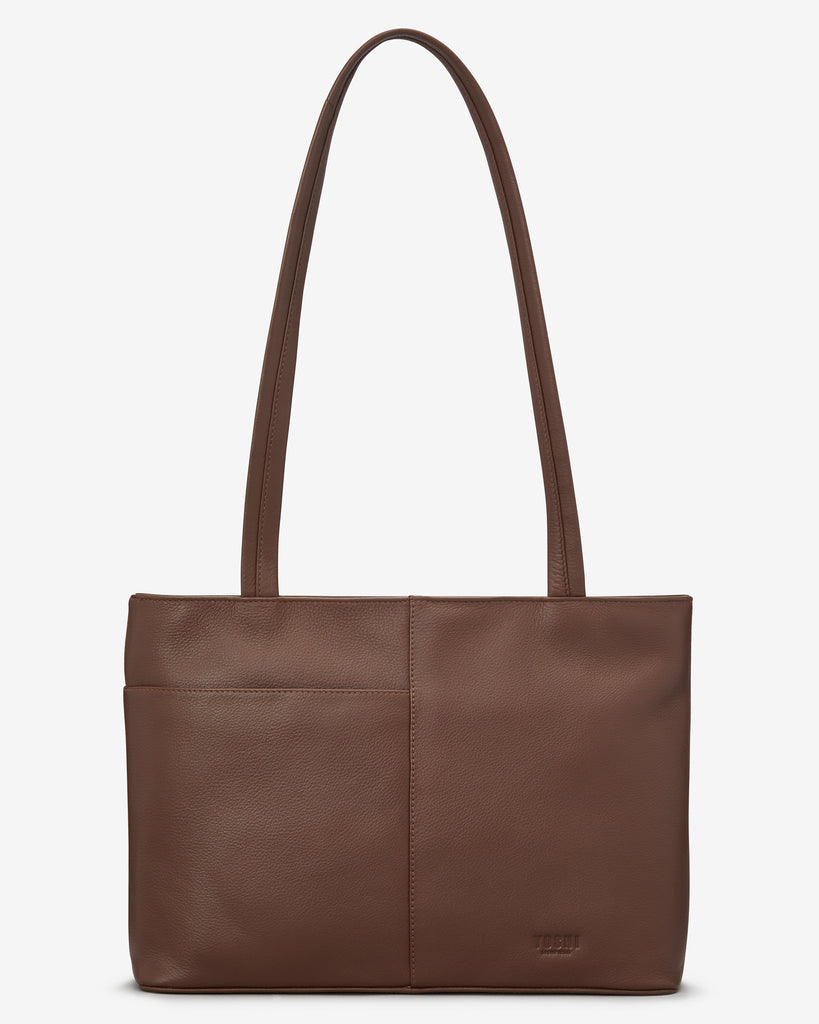 Dog Walk Brown Leather Shoulder Bag - Yoshi