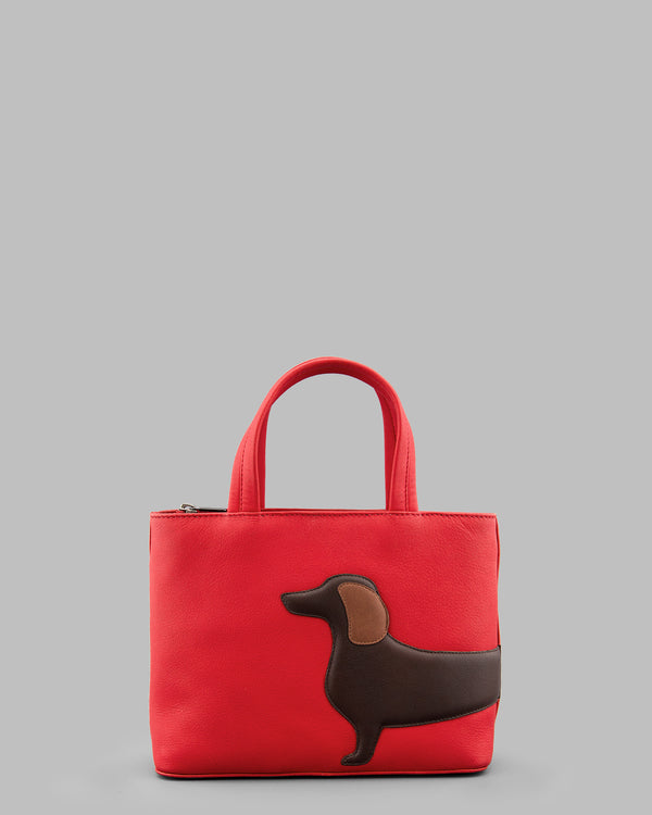 Dottie Dachshund Red Leather Grab Bag A