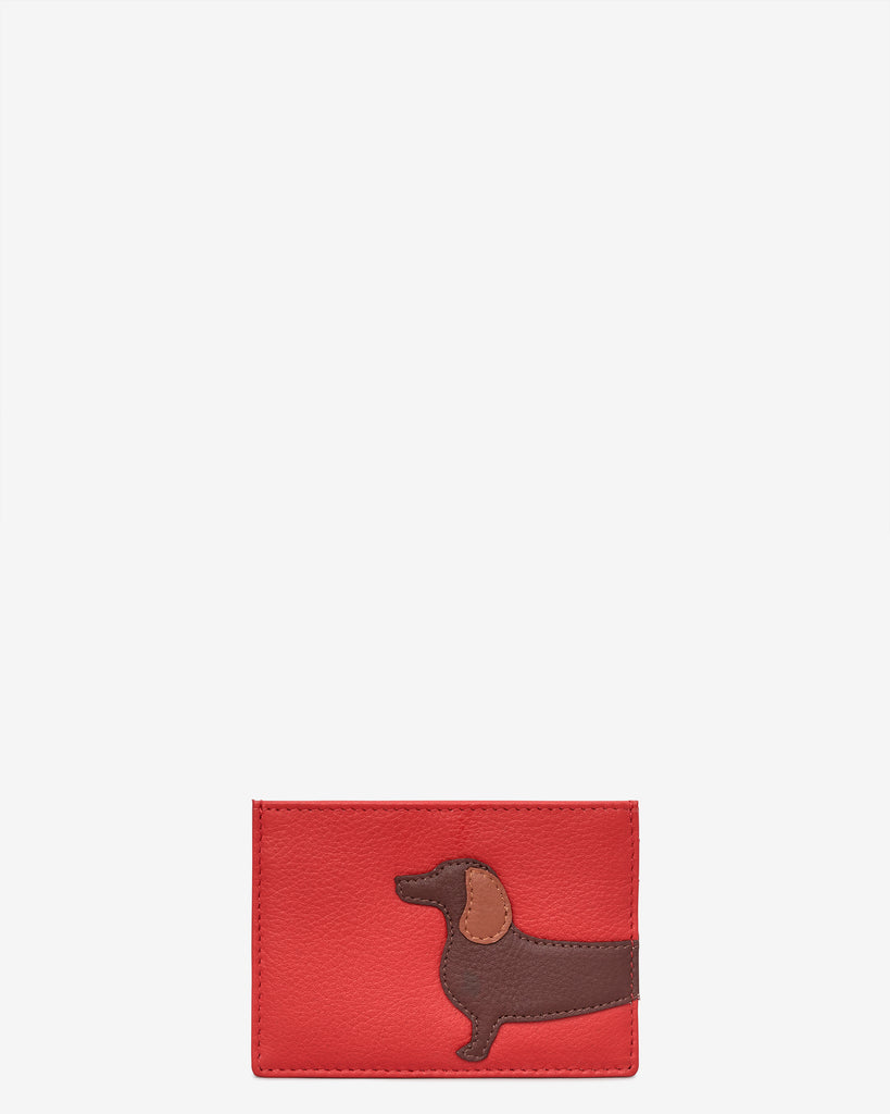 Dottie the Dachshund Leather Academy Card Holder - Red - Yoshi