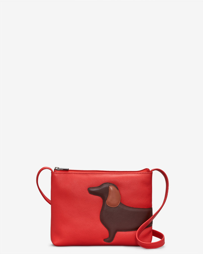 Dottie the Dachshund Red Leather Cross Body Bag - Red - Yoshi