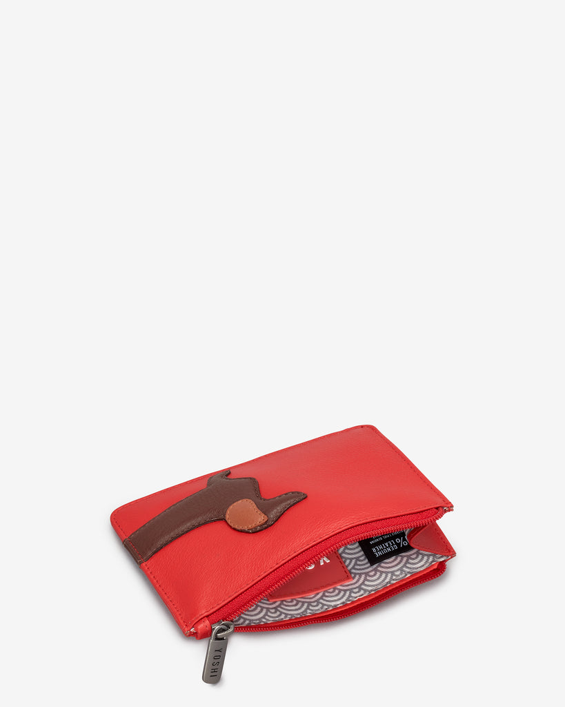 Dottie the Dachshund Red Leather Franklin Purse - Yoshi