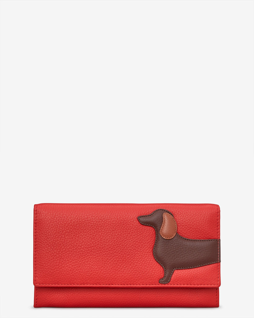 Dottie the Dachshund Red Leather Hudson Purse - Red - Yoshi