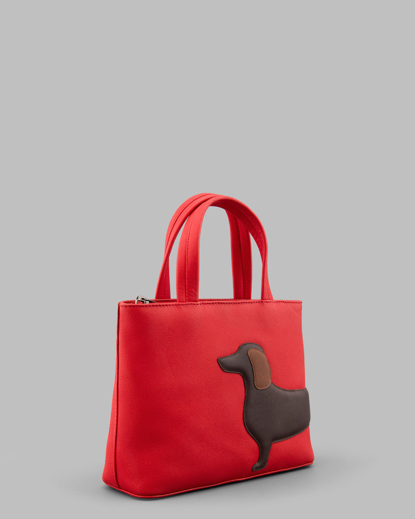 Dottie the Dachshund Red Leather Grab Bag