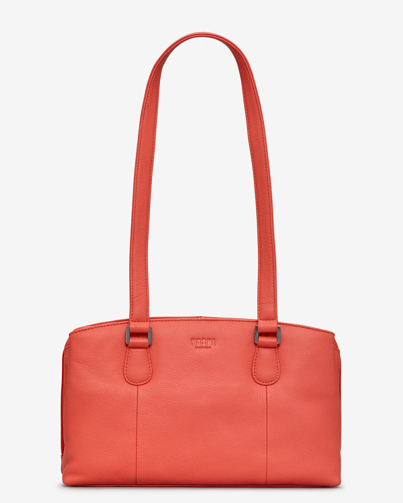Ealing Coral Leather Shoulder Bag - Coral - Yoshi