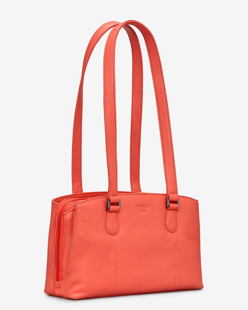 Ealing Coral Leather Shoulder Bag -  - Yoshi