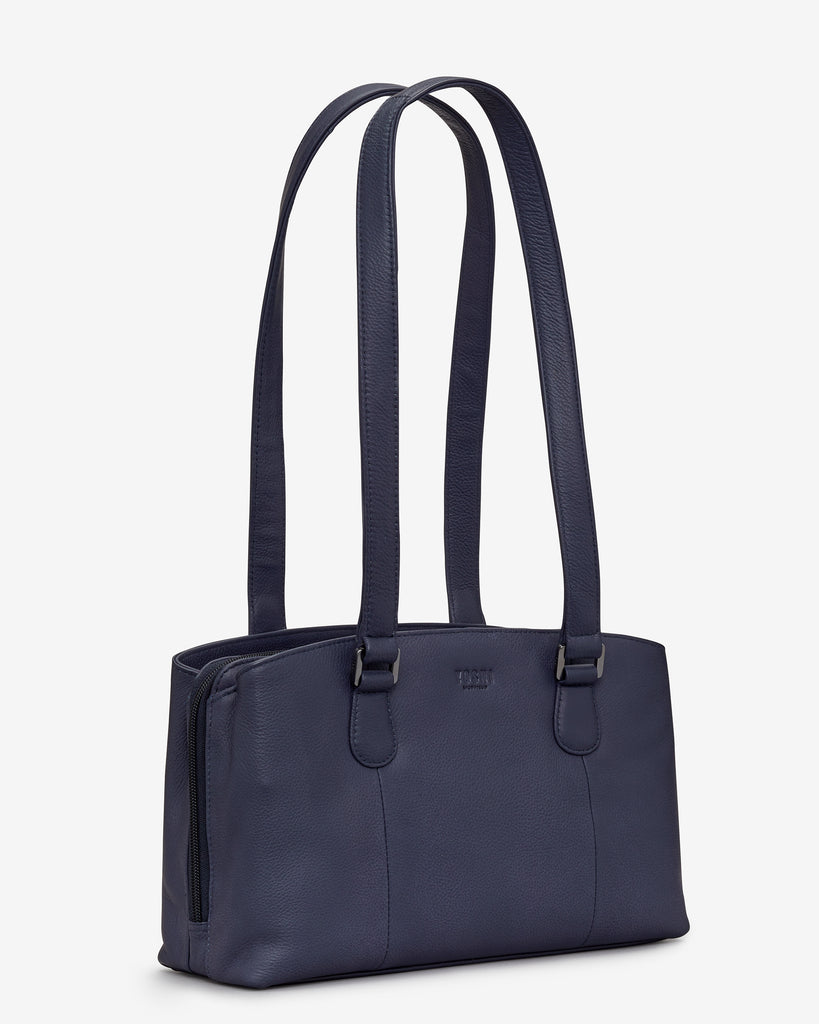 Ealing Navy Leather Shoulder Bag - Yoshi