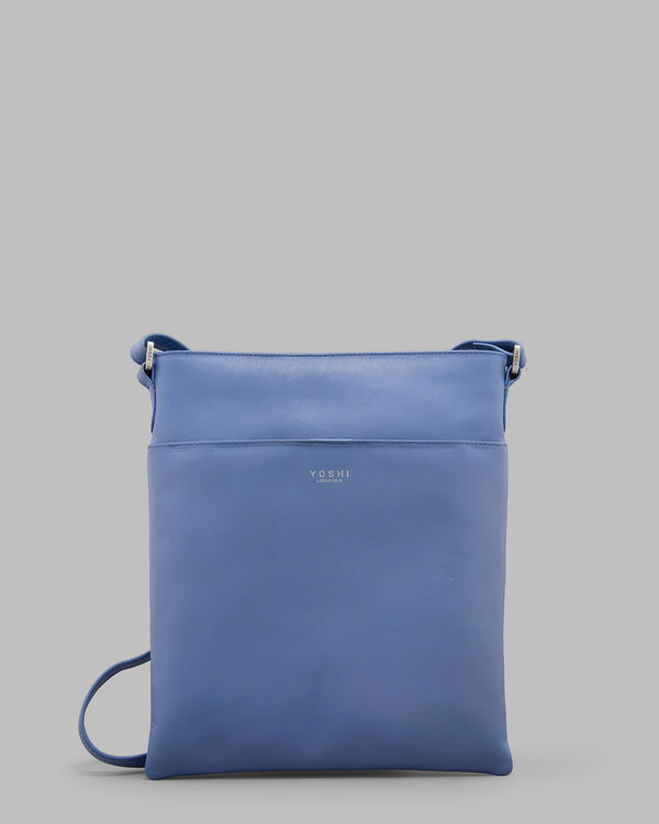 Farringdon Cornflower Blue Leather Cross Body Bag A