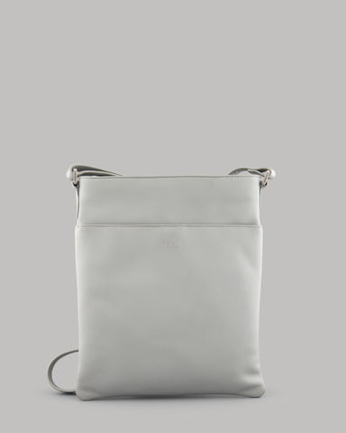 Farringdon Lunar Grey Leather Cross Body Bag For Ladies