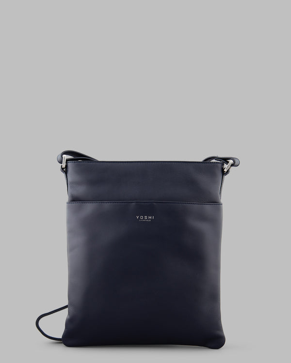 Farringdon Navy Leather Cross Body Bag A