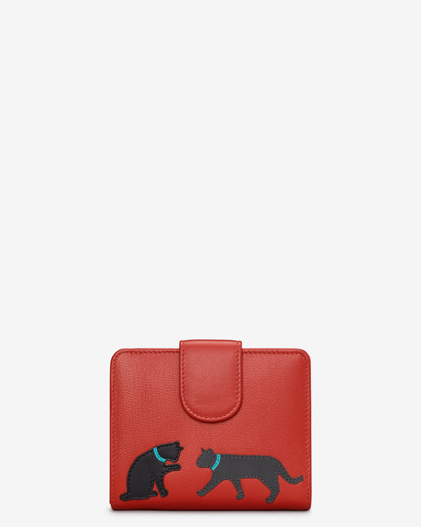 Feline Friends Medium Zip Around Red Leather Purse - Red - Y by Yoshi