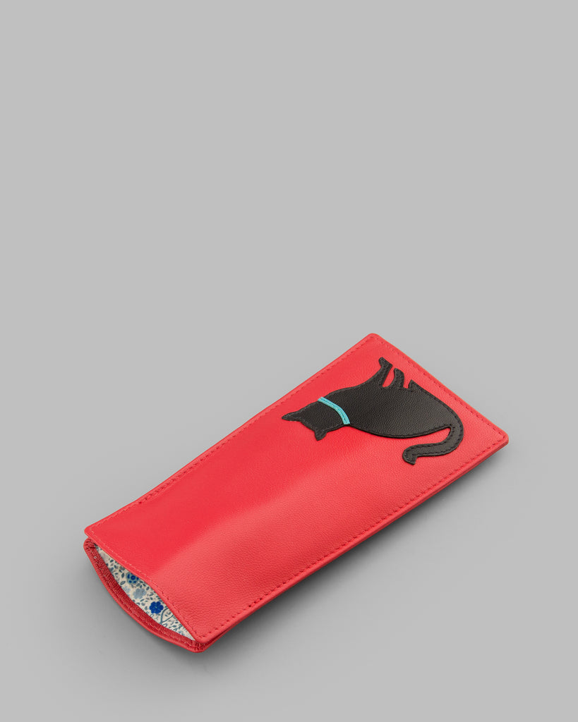 Feline Friends Red Leather Glasses Case -  - Y by Yoshi
