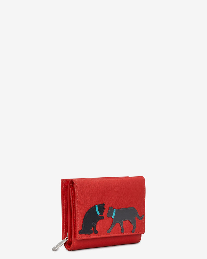 Feline Friends Zip Around Red Leather Purse -  - Y by Yoshi
