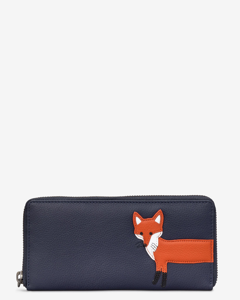 Fergus The Fox Navy Leather Baxter Purse - Navy - Yoshi