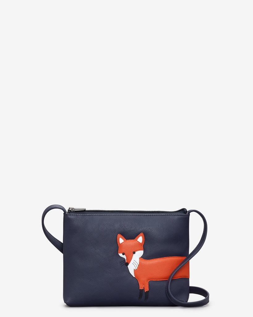 Fergus The Fox Navy Leather Cross Body Bag - Navy - Yoshi