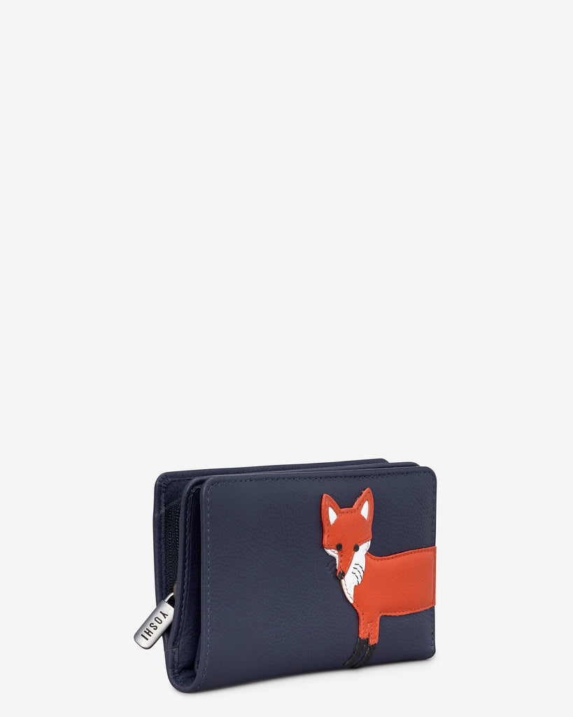 Fergus The Fox Navy Leather Oxford Purse -  - Yoshi