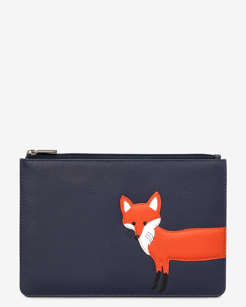 Fergus The Fox Navy Leather Brooklyn Pouch - Navy - Yoshi