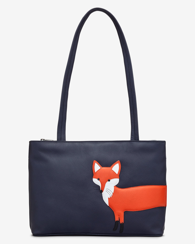 Fergus The Fox Navy Leather Shoulder Bag - Navy - Yoshi