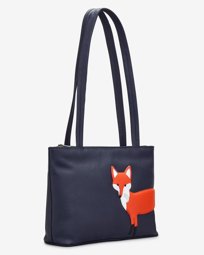 Fergus The Fox Navy Leather Shoulder Bag -  - Yoshi
