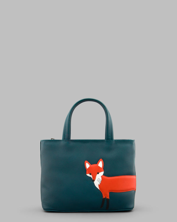 Fergus the Fox Teal Green Leather Grab Bag A