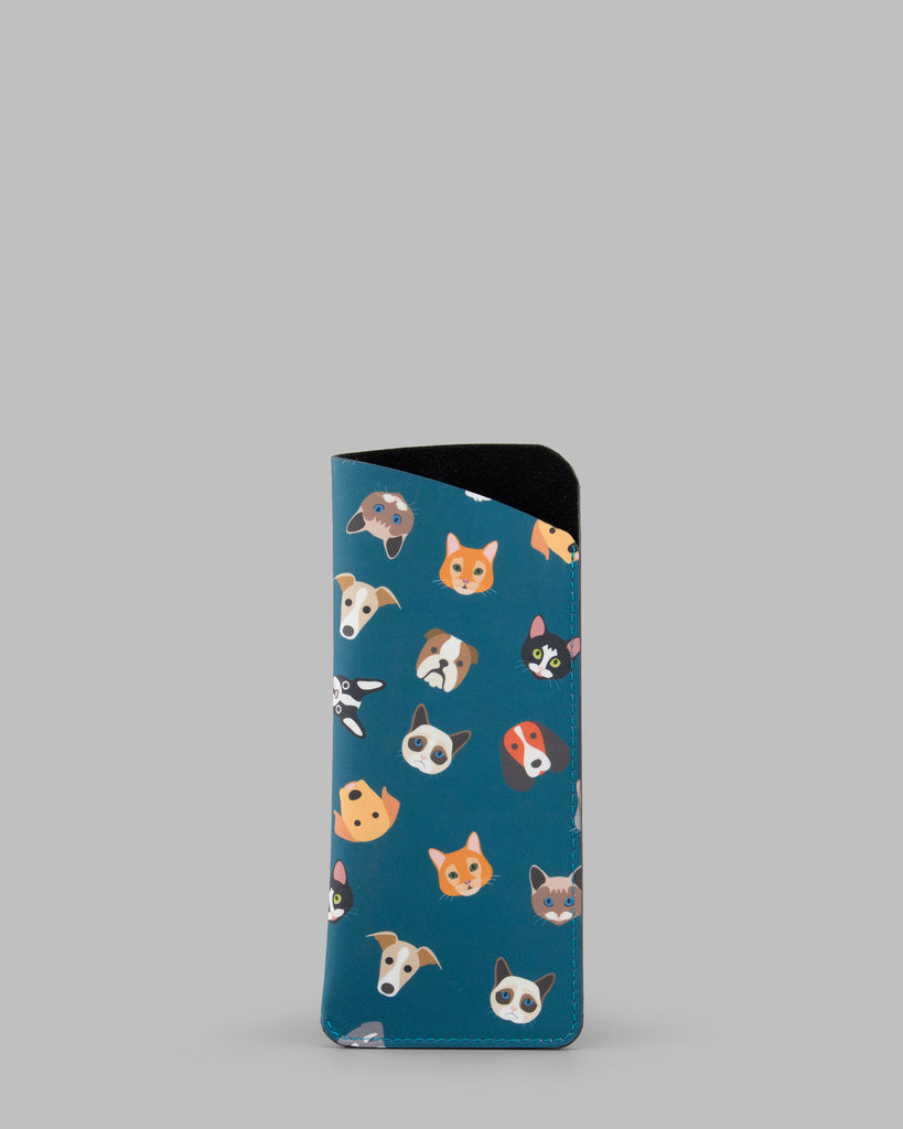 Four Legged Friends Leather Slim Glasses Case / Sleeve a