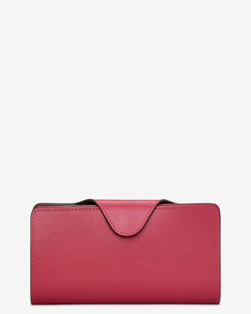 Fuchsia Pink Satchel Leather Purse - Yoshi